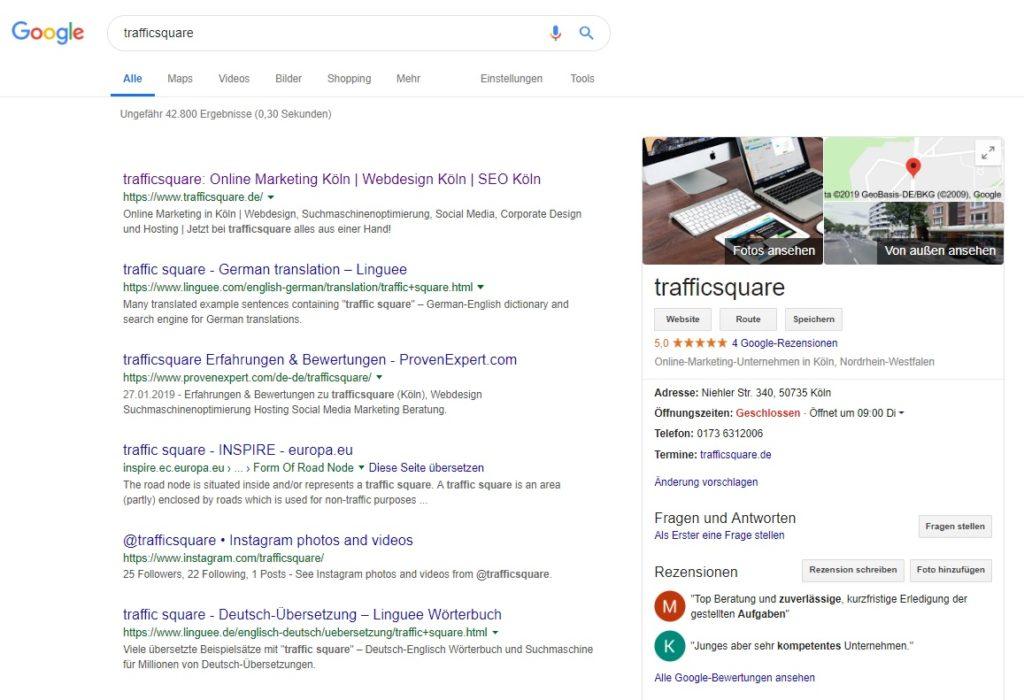 Google My Business Eintrag Beispiel